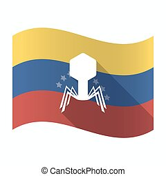 Isolated Venezuela flag with a virus - Illustration of an...