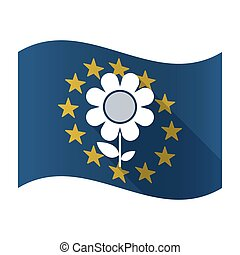 Isolated EU flaw with a flower - Illustration of an isolated...