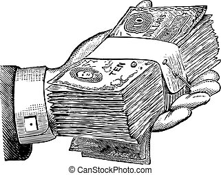 Vector Money Donation Graphic - Vector retro money and hand.