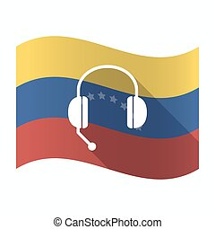 Isolated Venezuela flag with a hands free phone device -...