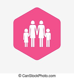 Isolated hexagon with a lesbian parents family pictogram