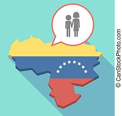 Long shadow Venezuela map with a childhood pictogram -...