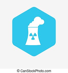 Isolated hexagon with a nuclear power station - Illustration...