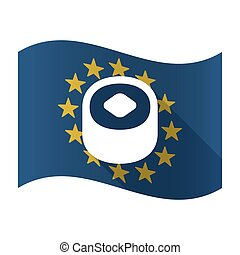 Isolated EU flaw with a piece of sushi - Illustration of an...