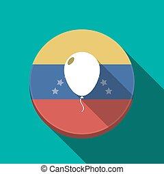 Long shadow Venezuela button with a balloon - Illustration...