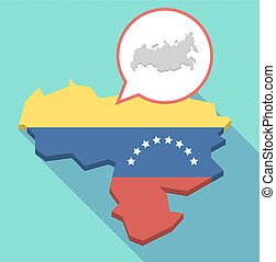 Long shadow Venezuela map with a map of Russia -...