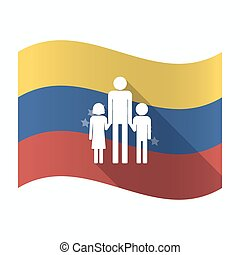 Isolated Venezuela flag with a male single parent family...