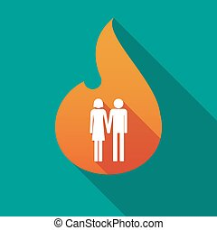 Long shadow flame with a heterosexual couple pictogram -...