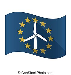 Isolated EU flaw with a wind turbine - Illustration of an...