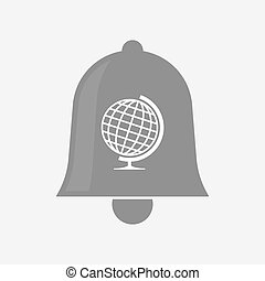 Isolated bell with  a table world globe