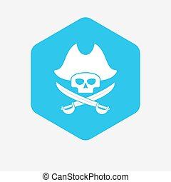 Isolated hexagon with a pirate skull