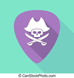 Long shadow plectrum with a pirate skull