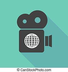 Long shadow camera with a world globe