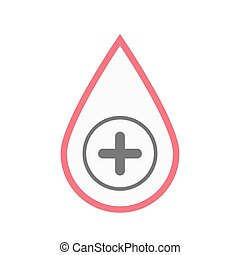 Isolated blood drop with a sum sign - Illustration of an...