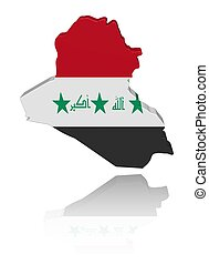 Iraq map flag with reflection illustration - Iraq map flag...