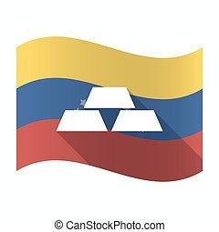 Isolated Venezuela flag with three gold bullions -...