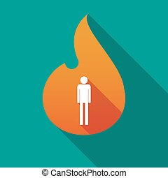 Long shadow flame with a male pictogram