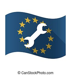 Isolated EU flaw with a wrench - Illustration of an isolated...