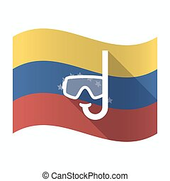 Isolated Venezuela flag with a diving goggles