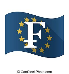 Isolated EU flag with a swiss franc sign - Illustration of...