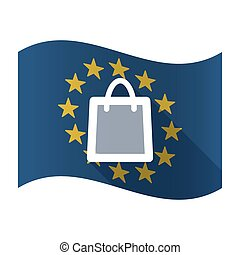 Isolated EU flaw with a shopping bag - Illustration of an...