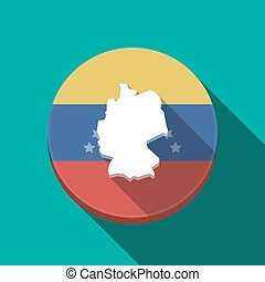 Long shadow Venezuela button with a map of Germany -...