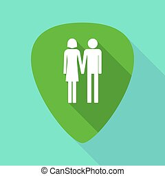 Long shadow plectrum with a heterosexual couple pictogram -...