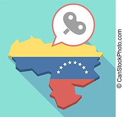 Long shadow Venezuela map with a toy crank - Illustration of...