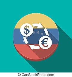 Long shadow Venezuela button with a dollar euro exchange...