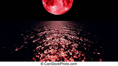 A 4K Red colored moon setting slowly over the ocean at night with the color of the moon reflecting light onto the ocean waves