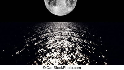 A 4K White colored moon setting slowly over the ocean at night with the color of the moon reflecting light onto the ocean waves