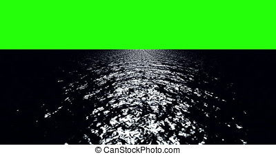 A 4K Chroma key Green screen backdrop behind the ocean horizon, taken at night with light reflecting on the ocean as the waves move