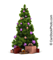 Christmas tree and gifts. 3d image. Isolated white...