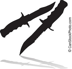 black knifes silhouettes with shadows vector illustration