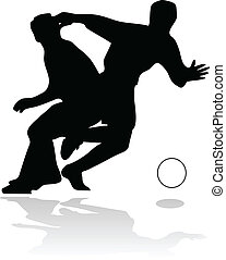 football players in action black vector silhouettes isolated...