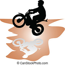 moto rider black vector silhouette illustration