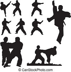 karate fighters in action vector illustration