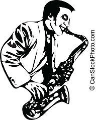 saxophonist vector illustration isolated on white