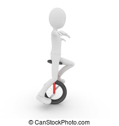 3d man with unicycle
