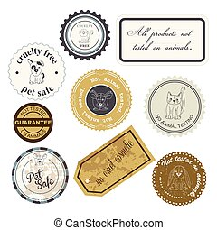 animal rights cruelty free labels - vector illustration of a...