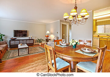 Living room with TV and dining area - Dining area and living...