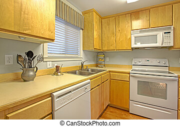 Kitchen - Light maple cabinets. Kitchen in an apartment in...