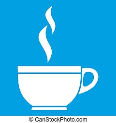 Glass cup of tea icon white isolated on blue background...
