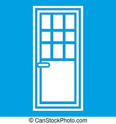 Wooden door with glass icon white