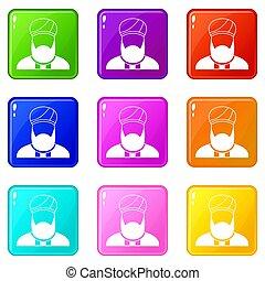 Muslim preacher set 9 - Muslim preacher icons of 9 color set...