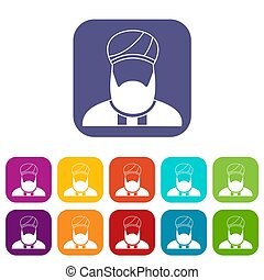 Muslim preacher icons set illustration in flat style in...