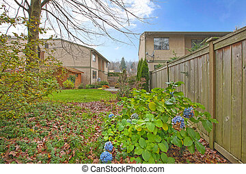 Back yard - Condominium in Kirkland, WA. Large back yard...