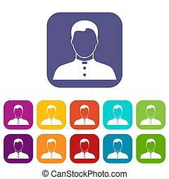 Pastor icons set illustration in flat style in colors red,...