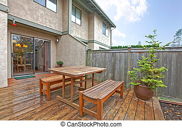 Patio on the back yard - Condominium in Kirkland, WA with a...