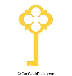 Golden key vector - Vector illustration of golden old key...